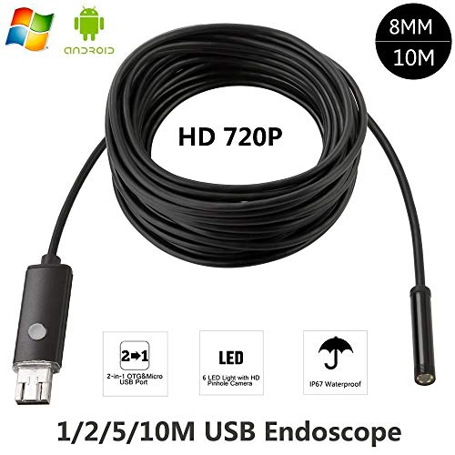 JJZXZQ Endoskope 8Mm Usbendoscope Android 5M 10M OTG PC USB Endoscopio Mini Endoskop-Kamera 720P Inspection wasserdichte Kamera,5m
