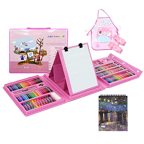 180 Piece Art Set with 50 Page Drawing Pad, Art Supplies for Drawing, Painting and More in a Plastic Case,Great Gift for Kids