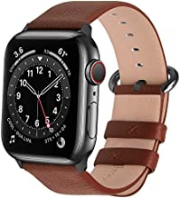 Fullmosa Compatible Apple Watch Band 38mm 40mm 42mm 44mm Leather Compatible iWatch Band/Strap Compatible Apple Watch SE & Series 6 5 4 3 2 1, 42mm 44mm Brown + Smoky Grey Buckle