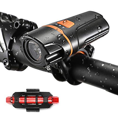VICKSONGS Luz Bicicleta Recargable USB Potente Delantera, Juego de Faros con Luz Trasera de Bicicleta Luz [10 Horas 7 Modos] IPX6 LED Bicicleta para Carretera y Montaña - Seguridad para la Noche