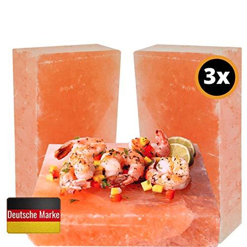 The White Bull® Premium Salzstein 3er Set 20x10x2,5 cm zum Grillen Salzplanke Grillsalzstein für Fleisch, Fisch, Gemüse mit leckerer Salzkruste als Geschenk für Grill Zubehör
