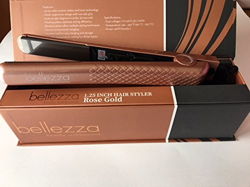 Price comparison product image Bellezza Hair Care System 1.25 Inch Ceramic Flat Iron Pastel Color Hair Straighteners (Rose Gold)