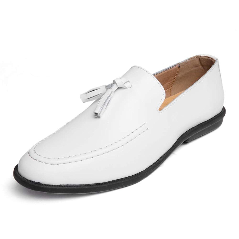 男士革靴 オックスフォード男性用スリップオンタッセルロープローファー本革結婚式のオフィス作業靴 個性な (Color : 白, サイズ : 25 CM)