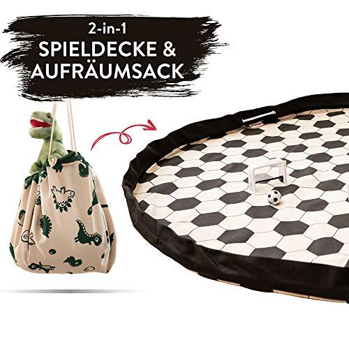 snugo Fussball Krabbeldecke, Spielteppich & Aufräumsack in Einem für Kinder & Baby | Ideal für die Aufbewahrung von Spielzeug, Lego und Anderen Spielsachen | Made in Germany
