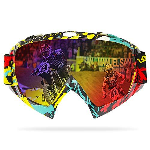 GANZTON Verspiegelt Crossbrille Motorradbrillen Anti Fog UV Schutzbrille Sportbrille Fahrradbrille Skibrille mit verstellbares Band, weiteres Blickfeld für Motorradfahren und Outdoor Sport(Tarnung)