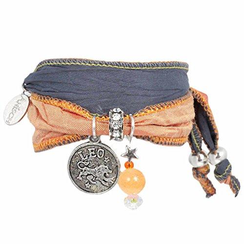 Anisch de la Cara damesarmband leeuw - Signs of Zodiac sterrenbeeld armband van Indiase Saris Signs of Zodiac - artnr. 2260 g.