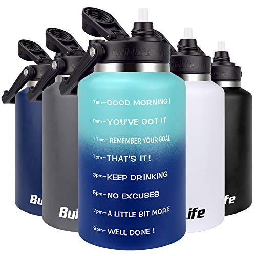 BuildLife Stainless Steel Water Bottle - 64 OZ Half Gallon Motivational Time Marker Wide Mouth with Straw Lid Leak Proof Reusable Travel Insulated Thermos Jug 01Blue-A 64 OZ