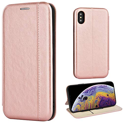 Leaum Leder Handyhülle für iPhone XS/X Hülle, Premium Handytasche Flip Schutzhülle für Apple iPhone XS and iPhone X Tasche (Rose Gold)