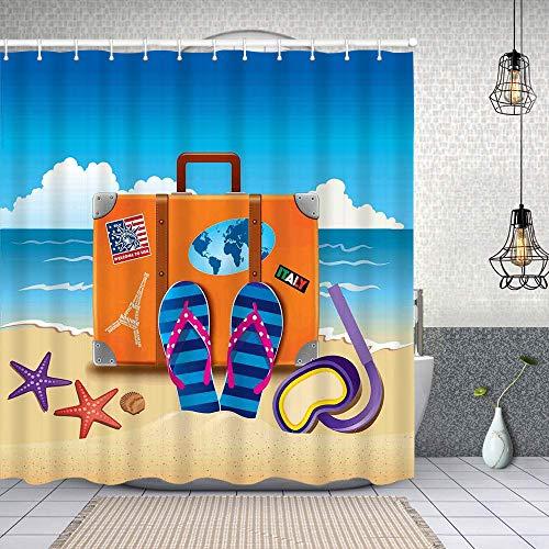 Cortina de Baño con 12 Ganchos,Ilustración de Maleta de Viaje, Pegatinas de Colores y máscara de Snorkel,Cortina Ducha Tela Resistente al Agua para baño,bañera 150X180cm