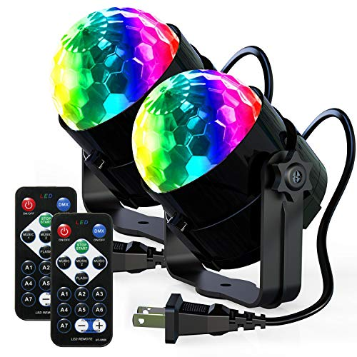 [2-Pack] Disco Ball Strobe Lights-TENKOO Party Lights Sound Activated Storbe Light with Remote Control DJ Lighting,Strobe Lamp 7 Modes Stage Par Light for Home Room Dance Parties Bar Karaoke Wedding