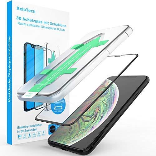 XeloTech 3D/4D Schutzglas für iPhone 11 Pro Max & XS MAX mit Schablone - Kompletter Vollglas Display-Schutz - Hochwertige Glasfolie mit Randschutz