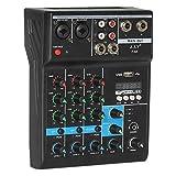 Gfhrisyty Mezclador de Audio PortáTil Mezclador Profesional de 4 Canales Consola DJ con Efecto ReverberacióN para Karaoke USB Live Stage KTV