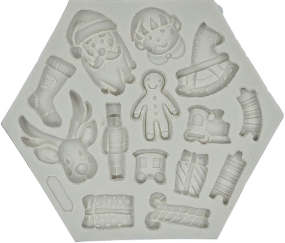 14 Cavities Christmas Santa Claus Silicone Mold Deer Elf Snowman Shape Silicone Mold For Cupcake Cake Chocolate Fondant Baking Biscuit Cookies Soap DIY Ice Cube Tray Decorating Tools
