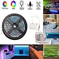 Luces de tiras LED alimentadas por batería,luz de fondo de TV flexible de 5M / 16.4ft, luces de cuerda RGB LED a batería a prueba de agua con control remoto de 24 teclas y caja de 2 baterías