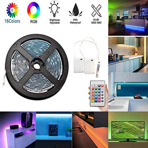 Striscia LED RGB di Batteria, flessibile 5M / 16.4ft Retroilluminazione TV, Alimentato a batteria Impermeabile Luci LED RGB con 24 tasti Telecomando e 2 Alimentatore a batteria per cucina