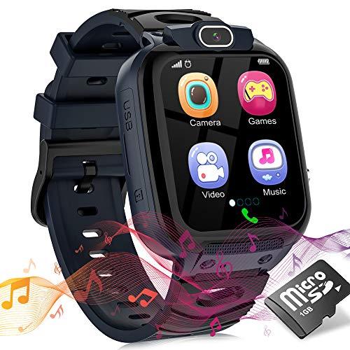 Smartwatch Kinder Uhr Telefon Smartwatches für Kinder Mädchen Jungen mit Musik Player Spiel Kamera SOS Wecker Recorder, Smart Watches for Kids, Geburtstagsgeschenk für Kinder (Schwarz) (Kein GPS)