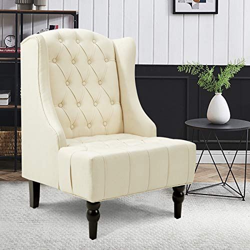 Esright High Back Accent Chair, Wingback Tufted Fabric Armless Chair, Mid Century Modern Club Chair with Wooden Legs for Living Room, Cream White Accent Chair, Corner Chair (Cream White)