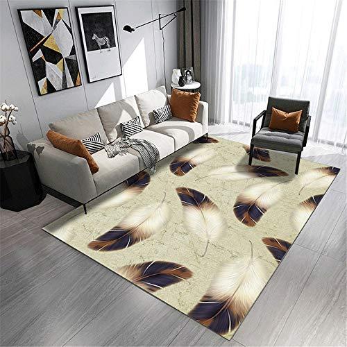 alfombras Pasillo,Patrón de Plumas Blanco y Azul se Puede Lavar la Alfombra de Polvo, Alfombra Verano Salon -Blanco_40x60cm