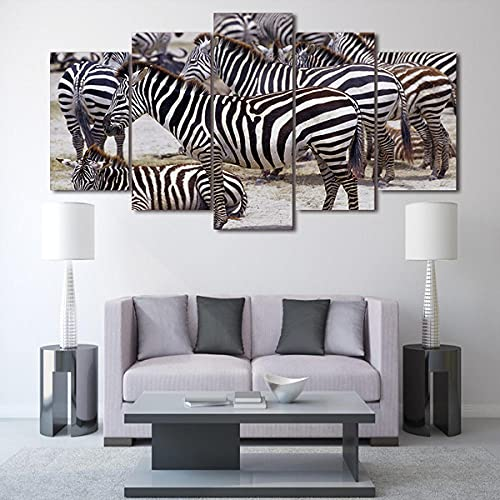 45Tdfc Cuadro Moderno en Lienzo,Conjunto de 5 Piezas para Salon Decoración 150x80 cm Paisaje de la Cebra de África Arte Pared Fotos Cuadros En Lienzo Lonas De Imprimir Modern Artwork