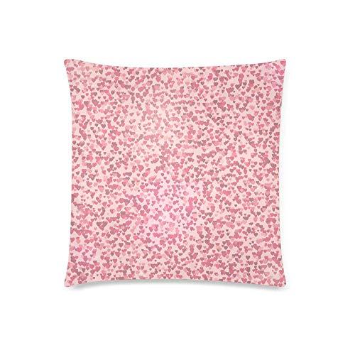 WXM Funda de cojín con forma de corazón rosa para el día de San Valentín, funda de almohada con 45,7 x 45,7 cm, funda de almohada con cremallera para decoración de sofá de dormitorio
