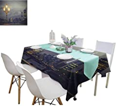 HouseDecor Night Rectangle Table Cover Cloth Westminster Bridge London City UK Stormy Moody Weather European Urban Travel Patterned Tablecloth 54 x 72 Inch