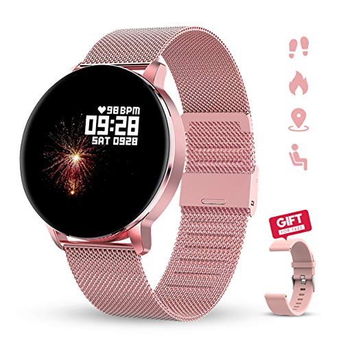 GOKOO Smartwatch 1.3 Zoll HD Voller-Touch Screen Damen Herren Intelligent Uhr IP67 Wasserdicht Fitness Tracker Schrittzähler Pulsuhren Schlafmonitor Frauen Männer Sportuhr für iOS Android (rosa)