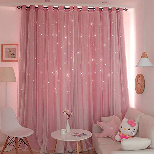 Doppelschicht Blackout Vorhänge, Mädchen Gardinen , Double Layer Gaze Openwork Stars Vorhänge, Prinzessin Stil Vorhang für Zuhause Wohnzimmer Schlafzimmer Kinderzimmer Balkon Hotel Dekoration (Pink)