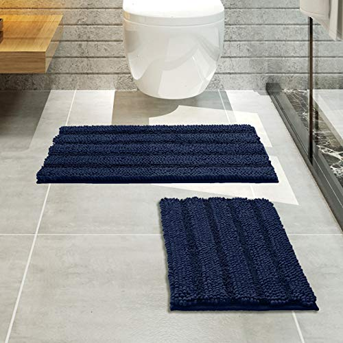 Thickened Striped Shaggy Bath Rugs for Bathroom Non Slip Set of 2 Bathroom Rugs, Extra Soft and Absorbent Chenille Yarn Rug Mat Set for Tub, Shower and Kitchen (20 x 32 Plus 17 x 24 - Inches, Navy)