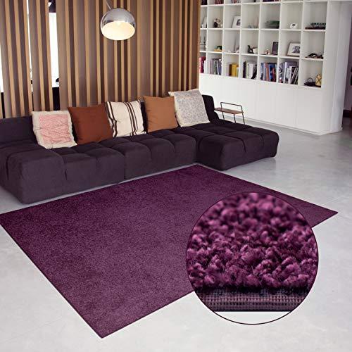 Carpet Studio Flauschiger abgepasster Teppich 160x230cm, Wohnzimmer/Schlafzimmer/Küche/Flur, praktische Reinigung, per Hand fertiggestellt, Aubergine