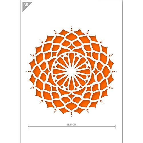 QBIX Mandala-Schablone - A5 Mandala-Schablone für Möbel, Wände, Fußböden - Mandalas für Heimwerker - Wiederverwendbare kinderfreundliche DIY Mandala-Schablone für Malen, Backen, Basteln, Wand, Möbel
