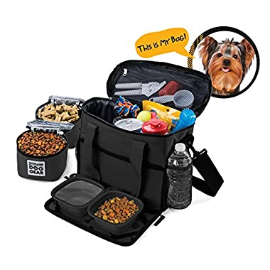 Overland Dog Gear Dog Travel Bag - Week Away Tote For Small Dogs - Includes Bag, 2 Lined Food Carriers, Placemat, and 2 Collapsible Bowls (Black)