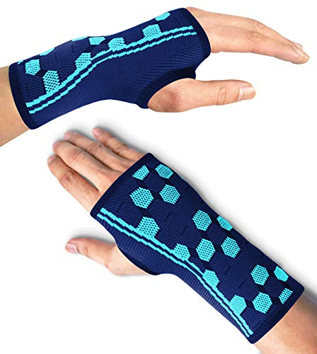 Sparthos Wrist Support Sleeves (Pair) – Compression Wrist Brace for Men and Women - Carpal Tunnel Tendonitis Arthritis Pain Relief Recovery from Wrist Pain, Strains, Sprains, Bursitis (Blue-S)