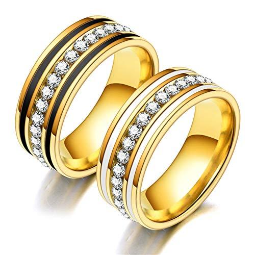 Daesar Anillos Oro Anillos de Compromiso Parejas de Acero Inoxidable Redondo Circonita Blanca Talla Mujer 20 & Hombre 25
