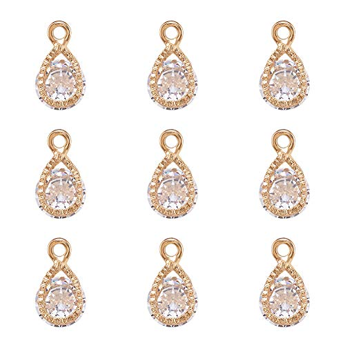 PandaHall 100pcs Cubic Zirconia Drop Charms Pendants Crystal Rhinestone Dangle Charms with Light Gold Metal Frame for DIY Necklace Earring Jewelry Making