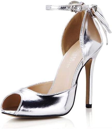GHFJDO Stiletto Femmes Talon Haut Cheville Sangle Boucle Boucle Boucle Les Les dames Or, Argent Nuptiale Peeptoe Sandals Chaussures Taille  beaucoup de concessions