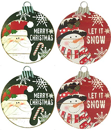 Christmas House Wooden Signs - Sets of 2 (Ornaments (Set of 4))