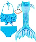Garlagy 3 Pcs Girls Swimsuit Mermaid Tails for Swimming Bikini Set Bathing Suit Swimmable Can Add Monofin for 3-14Y (5-6/Ht:45-47in(tag 120), A-a blue ruffle)