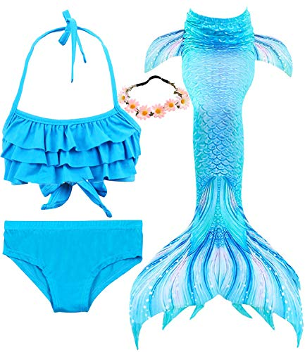 Girl Mermaid Tail Swimsuit Princess Bikini 3 Set 120#(5-6 years old), DH37+WJF74