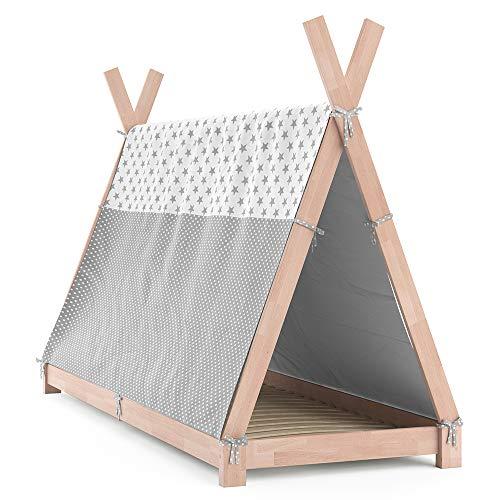 VitaliSpa Kinderbett Tipi Hausbett Indianer Bett Kinderhaus Massivholz Zelt Holz (Natur, 90 x 200 cm + Überwurf)