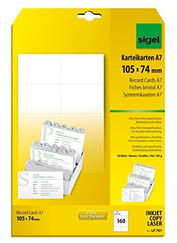 SIGEL LP701 Karteikarten, beidseitig bedruckbar, weiß, 185 g, A7, 160 Stück