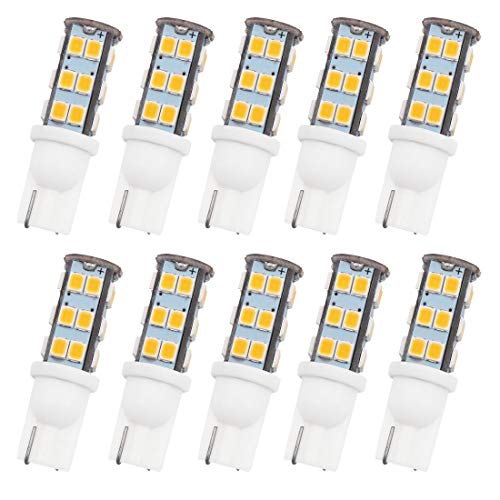 GRV T10 Wedge 192 921 194 25-2835 SMD LED Lights Bulbs DC 12V  Super Bright Dome Interior Car Lights Warm White Pack of 10
