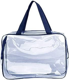 vacaciones QUMENEY Bolsa de aseo port/átil transparente con asa organizador de cosm/éticos grande con cremallera transparente para ba/ño bolsa de maquillaje transparente impermeable para viajes