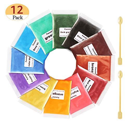 Funxim Pigmentos en Polvo 12pcs × 10g con Cuchara, Pigmentos para Resina Epoxi, Natural Mica Tintes para DIY Slime, Jabon, Pintauñas, Sombra de Ojos, Cera