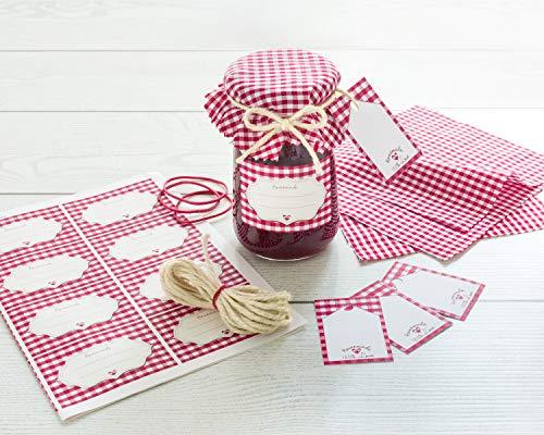 Readyprint Set Decorativo per 16 Vasetti di Confettura e Marmellata con Copri barattoli in Stoffa, Etichette, cartellini e spago - Tot. 65. pz.