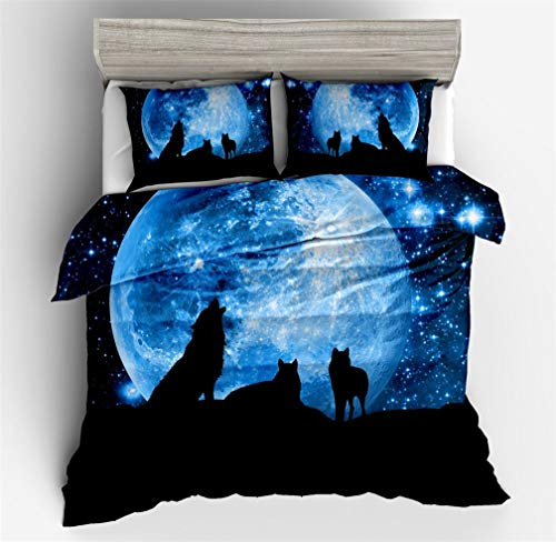 HNHDDZ 3D Tier Bettbezug Wolf Fliegender Vogel Mond Silhouette Blau Lila Orange Schwarz Galaxis Drucken Bettwäsche Polyester (Blau, Bettbezug 155x220 cm + 2 Kissenbezug 80x80 cm)
