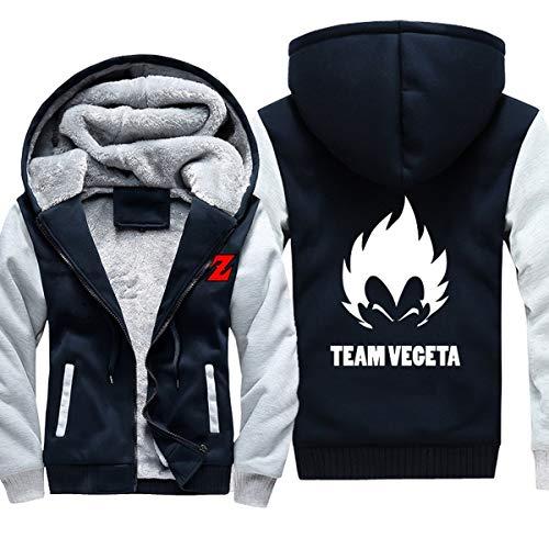 Preisvergleich Produktbild Mempire Herren Kapuzenpullover Sweatjacke mit Reißverschluss Team Vegeta Gemustert Sweatshirt Plus Samt (C, XL)