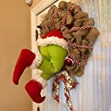 Christmas Thief Stole Christmas Burlap Wreath, Christmas Wreaths for Front Door, Christmas Grinch Burlap Wreath with Pose able Plush Legs, Funny Christmas Decorations (12 in)