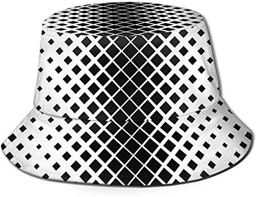 Sombrero de Cubo de Viaje con Estampado de Loto Hermoso Unisex, Gorra de Pescador de Verano, Sombrero para el Sol, Arte geométrico en Blanco y Negro