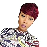 Dreampack Human Hair Short Bob Cut Wig With Hair Bangs Virgin 100% unprocessed Indian remy hair Straight Ombre Color 1B/99J for Black Woman