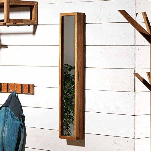 Pharao24 Schlüsselkasten mit Spiegel Eiche Massivholz